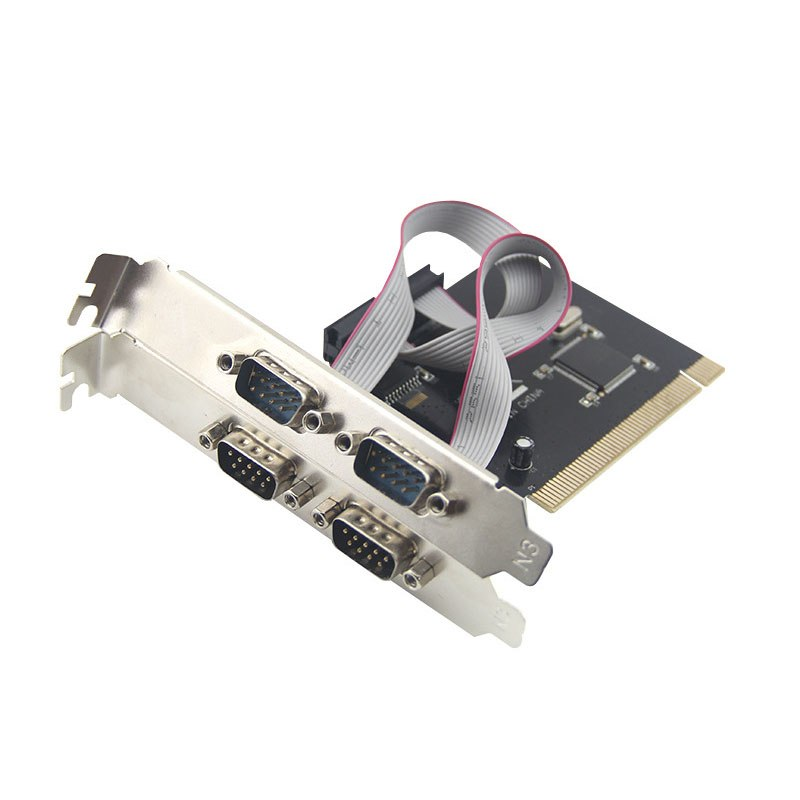 PCI to 4 serial card 4 COM RS232  serial port 9pin desktop PCI expansion adapter add on card - ebowsos