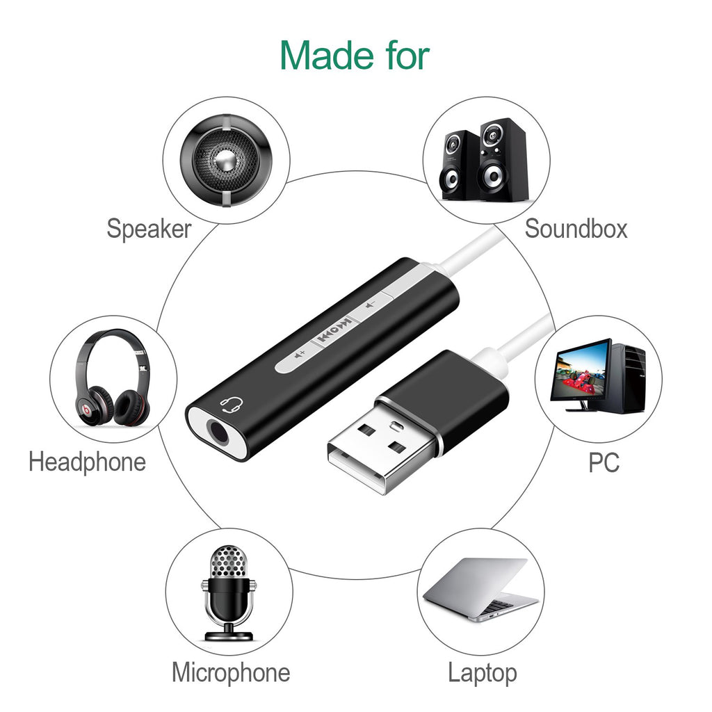 2 IN 1 USB External Sound Card,3.5mm USB Audio Interface Microphone Headphone Adapter for PC Laptop USB Sound Card - ebowsos
