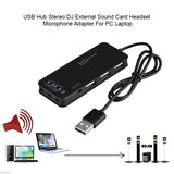 USB 2.0 Hub TO 3-Port USB 2.0 + Headphone + Mic Ports 7.1CH Sound Adapter Multi Ports Splitter Sound Cards - ebowsos
