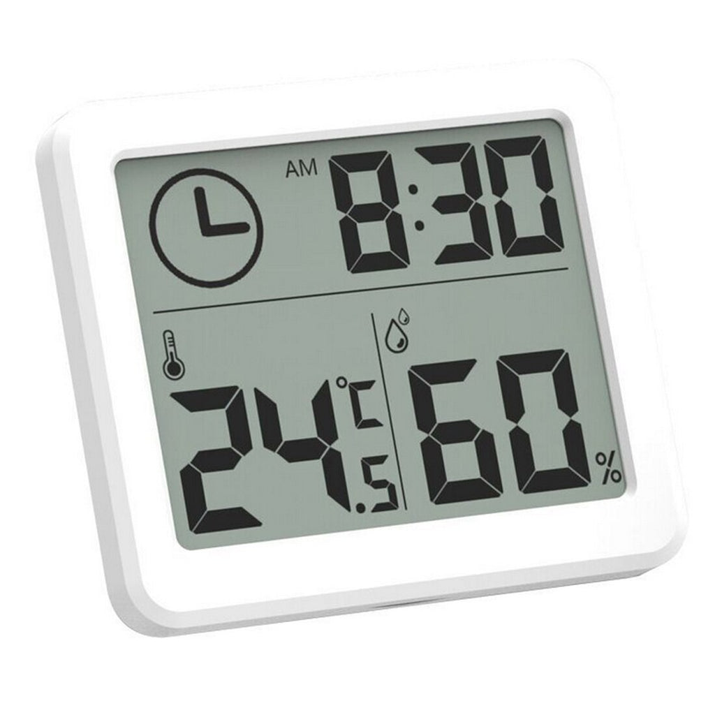3.2 inch Large LCD Screen Automatic Electronic Temperature Humidity Monitor Clock Multifunction Thermometer Hygrometer - ebowsos