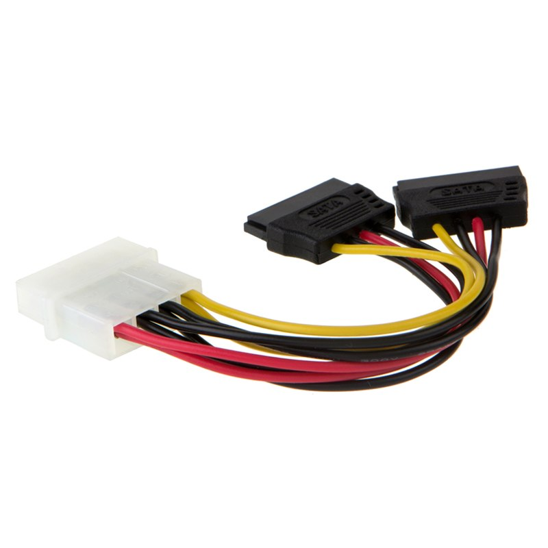 Molex To SATA Power Y Splitter Dual Hard Drive Cable Adapterr 2 Way 4 Pin IDE Molex To 2x 15 Pin Power Adapter Cable - ebowsos