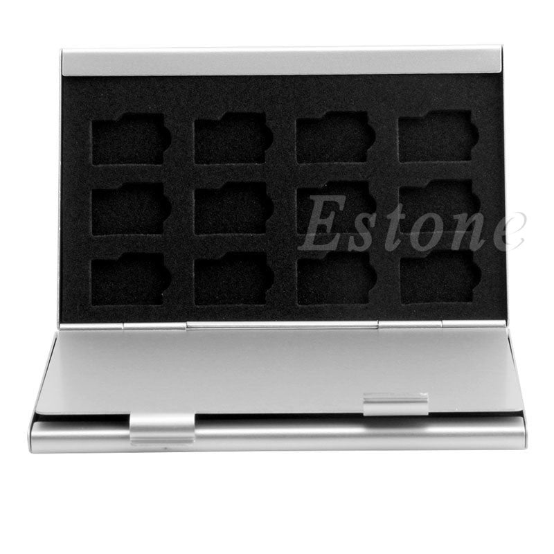 Silver Aluminum Memory Card Storage Case Box Holder For 24 TF Micro SD Cards - ebowsos