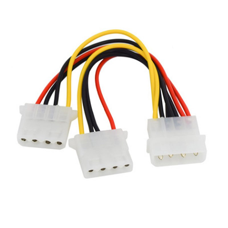 4 Pin Molex Male to 2 Ports Molex IDE Female Power Supply Y Splitter Adapter Cable For PC Cooling Fan CD Driver Hard Disk - ebowsos