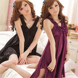 Women Ice Silk Sleepwear Sleeveless Female Summer Nightgown Pajama Set Dress Lingerie Nightdress - ebowsos