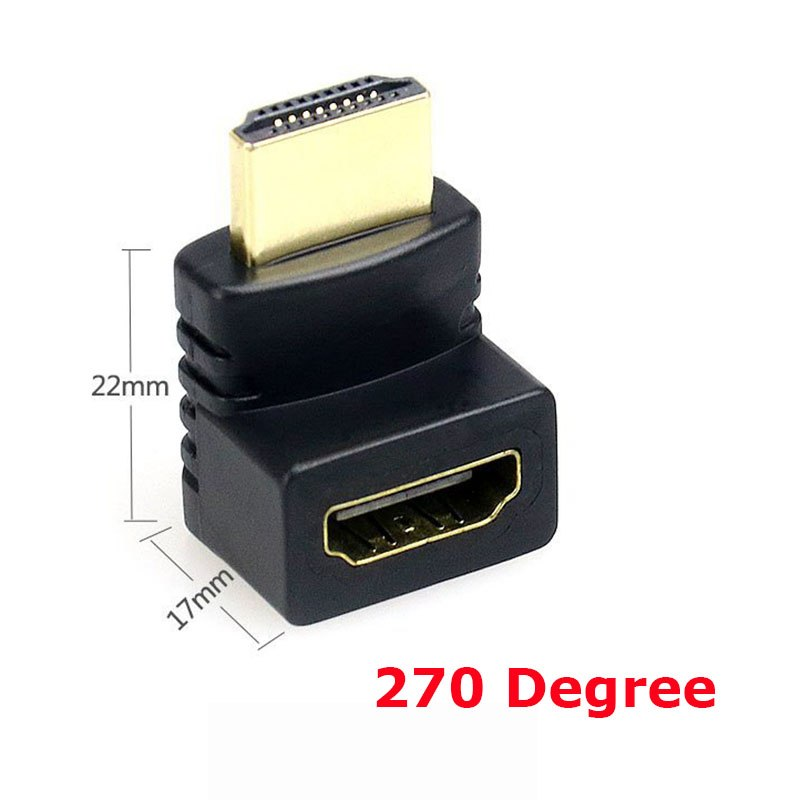 HDMI Cable Adapter 90/270 Degree Angle HDMI Male to HDMI Female for 1080P HDTV Cable Adaptor Converter Extender - ebowsos