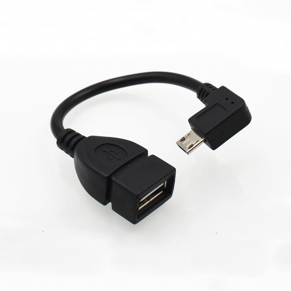 13cm Right Angle USB A Female to Micro B Male Converter OTG Adapter Cable Black for Samsung LG Xiaomi Android Phone - ebowsos