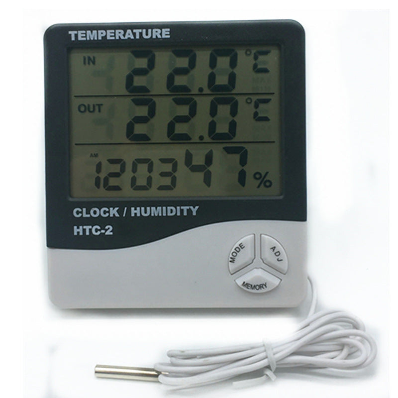 Digital Thermometer Hygrometer Electronic LCD Temperature Humidity Meter Weather Station Indoor Outdoor Clock HTC-2 - ebowsos