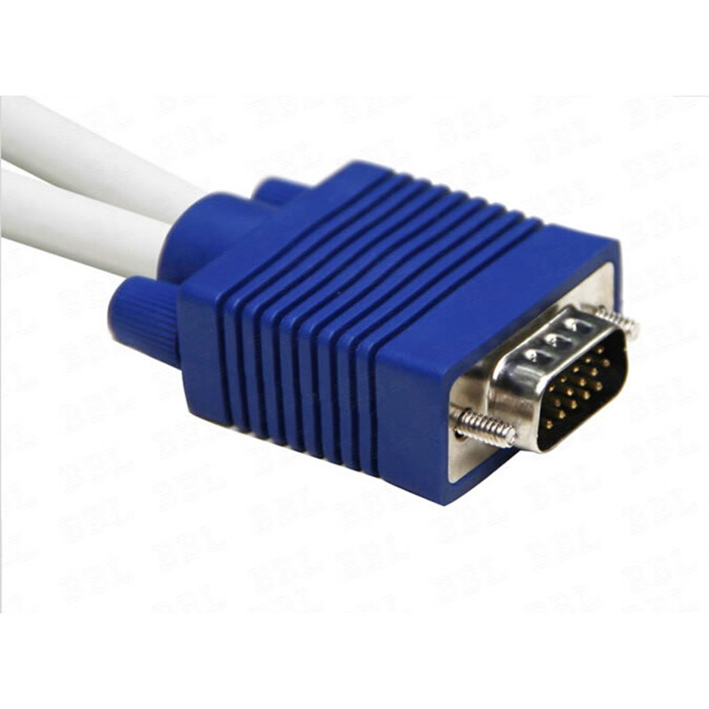 High Quality 1 Computer to Dual 2 Monitor VGA Splitter Cable Video Y Splitter 15 Pin Two Ports VGA Male to Female - ebowsos