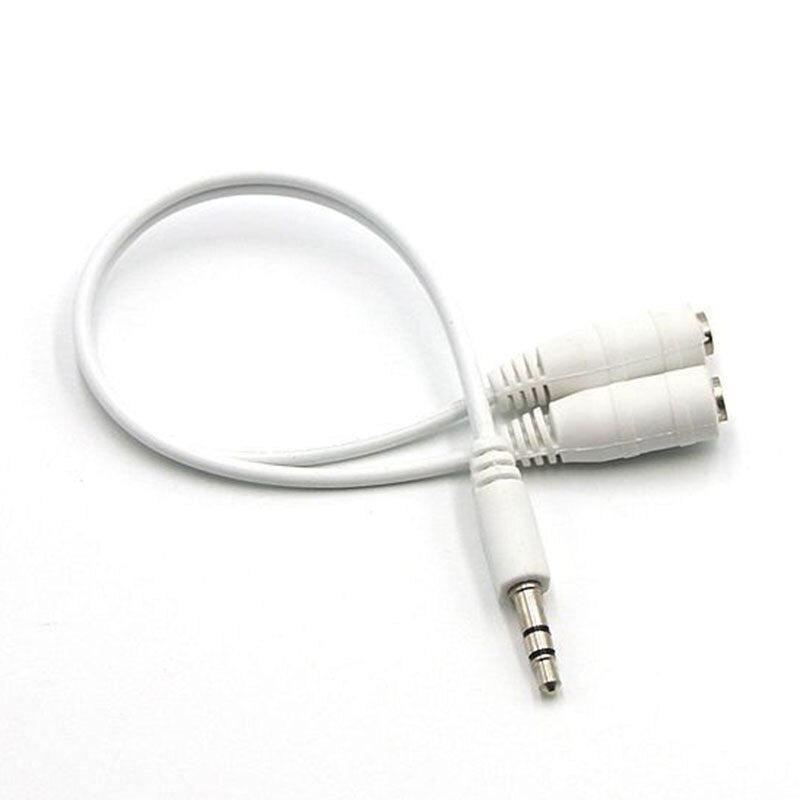 3.5mm Male To 2 Dual Female Earphone Headphone Stereo Audio Y Splitter adapter Cable - ebowsos