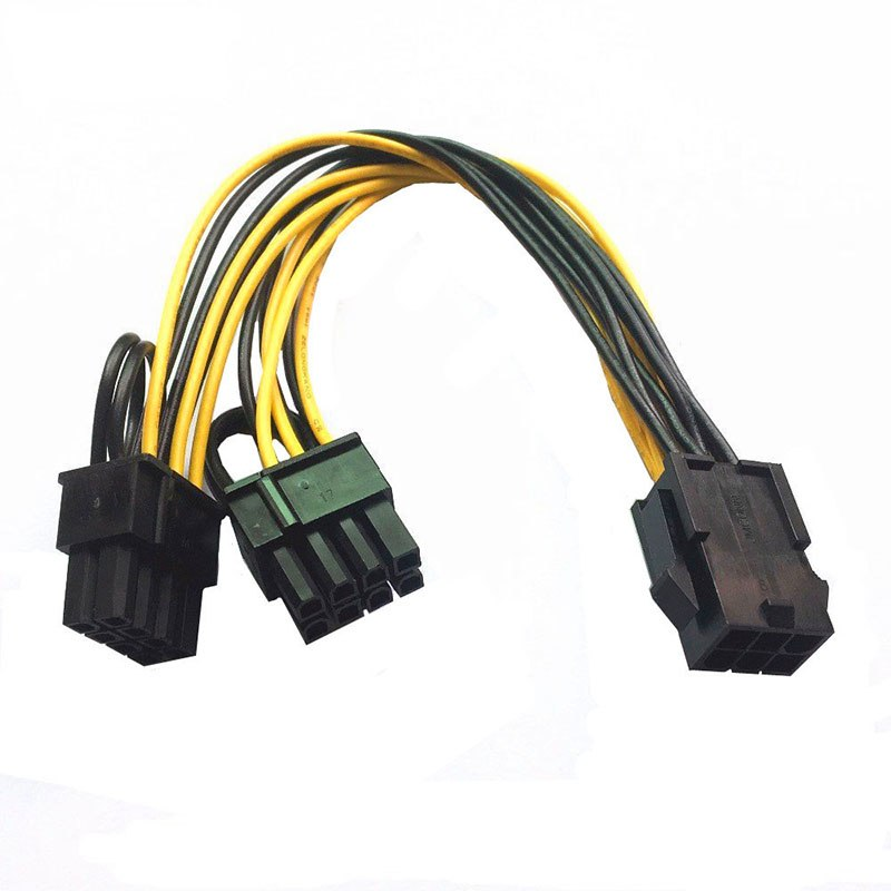 6 Pin Feamle to Dual 8 Pin Male PCI Express Power Converter Cable CPU Video Graphics Card 6Pin to 8Pin PCIE Power Cable - ebowsos