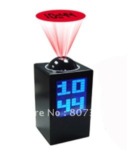 Black Large LCD Digital Projector LED Time Alarm Clock - ebowsos