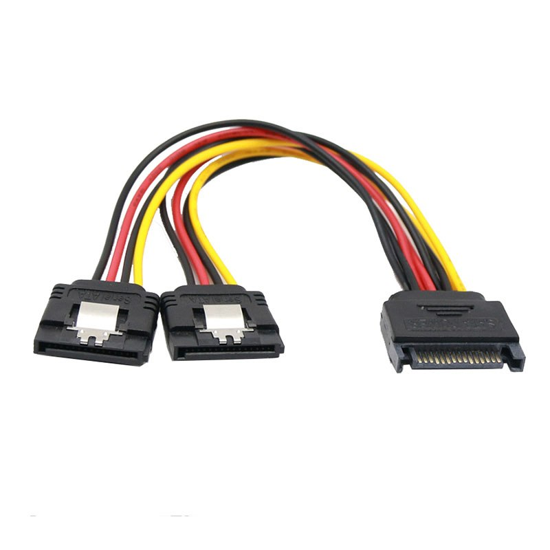 SATA 15 Pin Male To 2 SATA 15 Pin Female 15Pin Power cable HDD Y Splitter Universal Connector Adapter - ebowsos