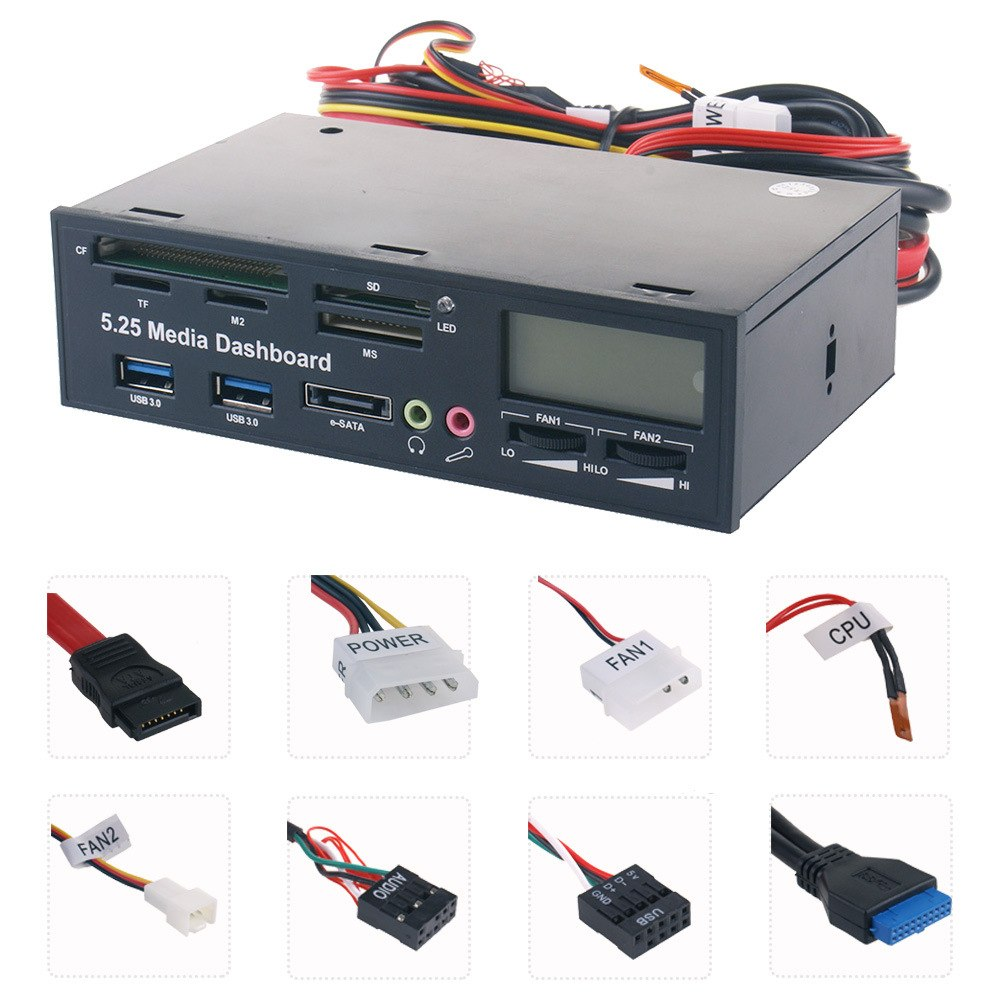 "5.25"" USB 3.0 e SATA All in 1 PC Media Dashboard Multi function Front Panel Card Reader I/O Ports - ebowsos"