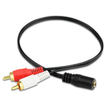 Universal 3.5mm Stereo Audio Female Jack to 2 RCA Male Socket to Headphone 3.5 Y Adapter Cable - ebowsos