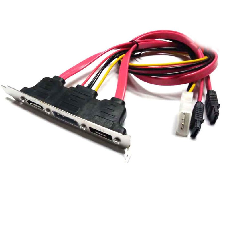 Dual SATA to 2 Ports eSATA + 4 Pin IDE Power PCI Bracket Slot Cable - ebowsos