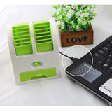Mini Fashion USB Small Fan Cooling Portable Desktop Dual Bladeless for Air Conditioner - ebowsos