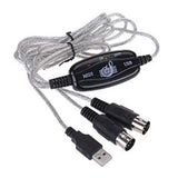 USB IN-OUT To MIDI Cable Converter PC to Music Keyboard Adapter Cord - ebowsos