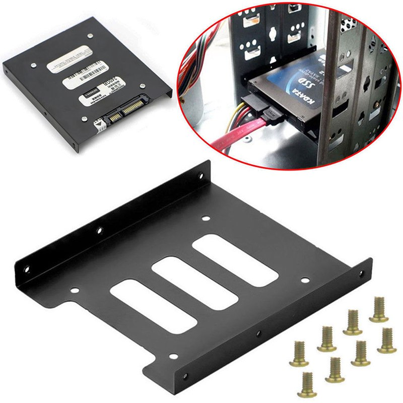 Useful 2.5 Inch SSD HDD To 3.5 Inch Metal Mounting Adapter Bracket Dock 8 Screws Hard Drive Holder For PC Hard Drive Enclosure - ebowsos