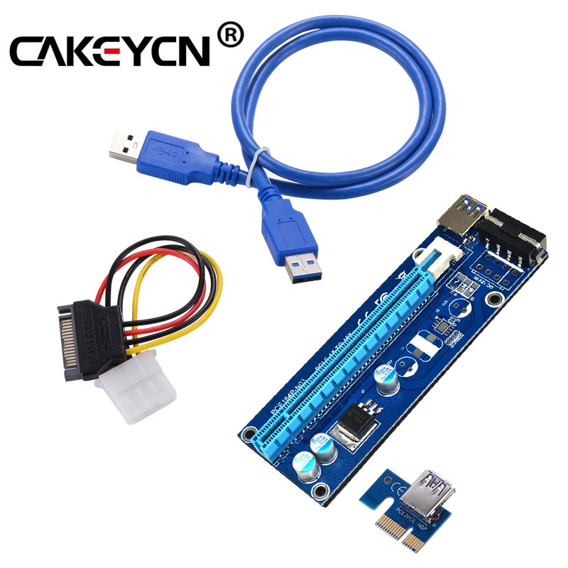 New 6pcs/lot Pci Express Riser Card Pci-e Extender 1X To 16X 60cm Usb 3.0 Cable Sata To 4pin Molex Power For Btc Miner Machine - ebowsos