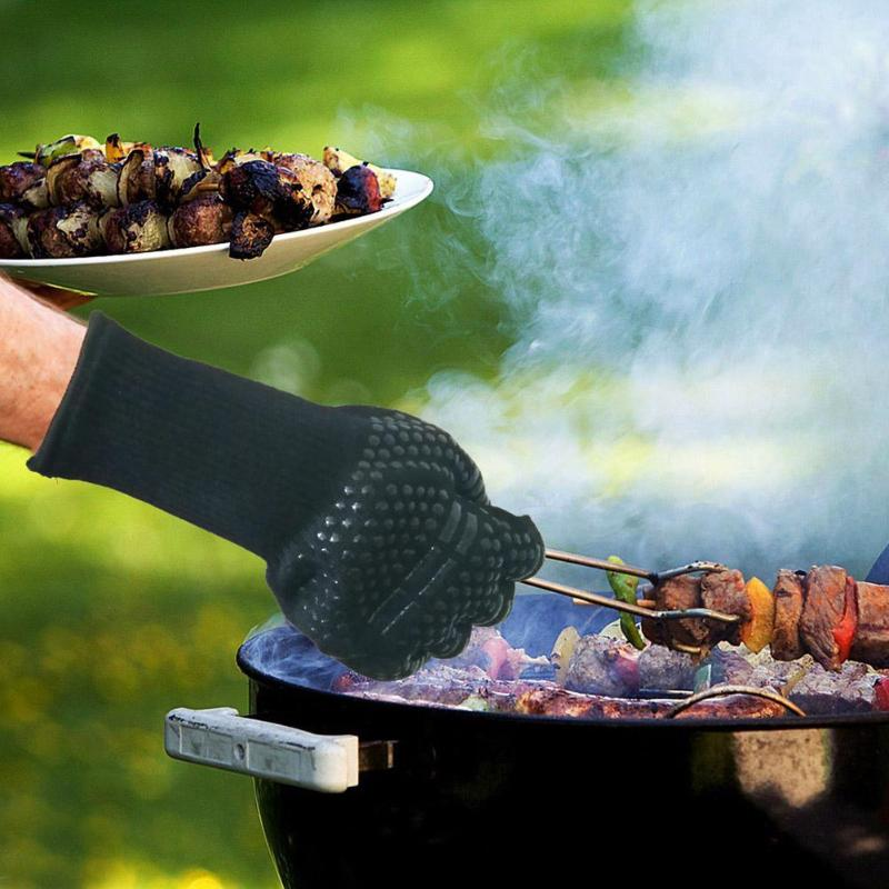 Heat Resistant Thick Silicone Cooking Baking BBQ Grill Gloves Oven Mittens High Temperature Resistance for Barbecue BBQ - ebowsos