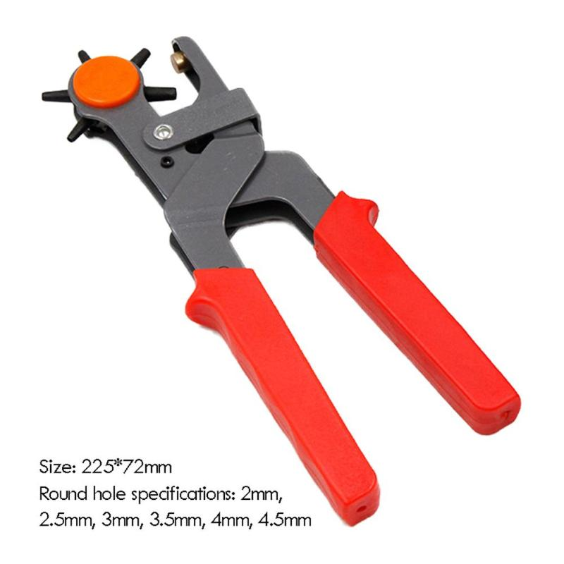 Heavy Duty Strap Leather Hole Punch ABS Plastic Handle Anti-Skid Thickening Gasket Hand Pliers Belt Punch Revolving DIY Tools - ebowsos