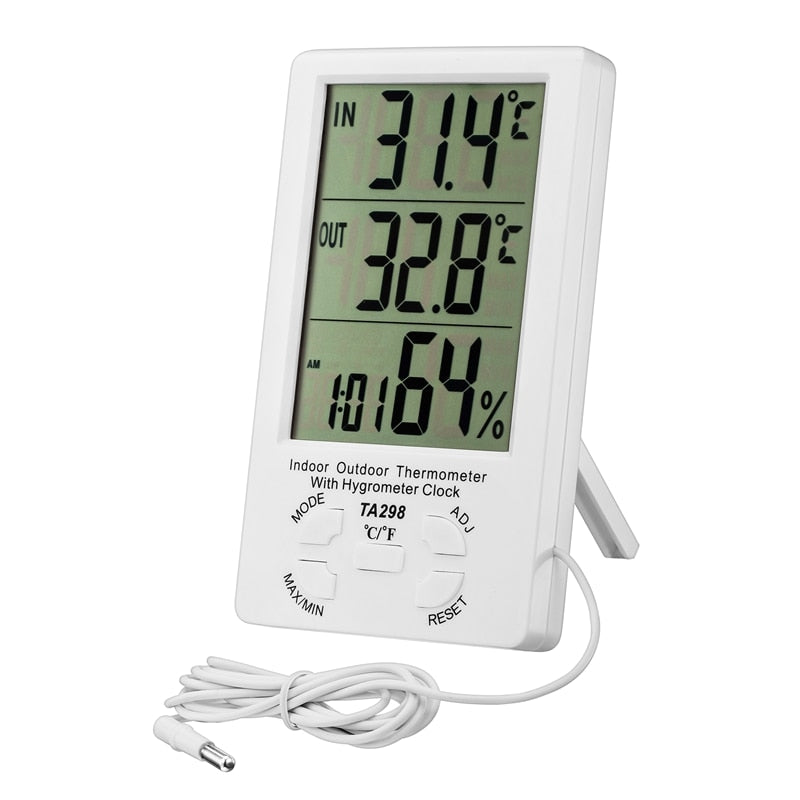Indoor Outdoor Thermometer Hygrometer Clock Alarm Digital LCD Min Max Value Display C/F Temperature Humidity Meter 1.5M Sensor - ebowsos