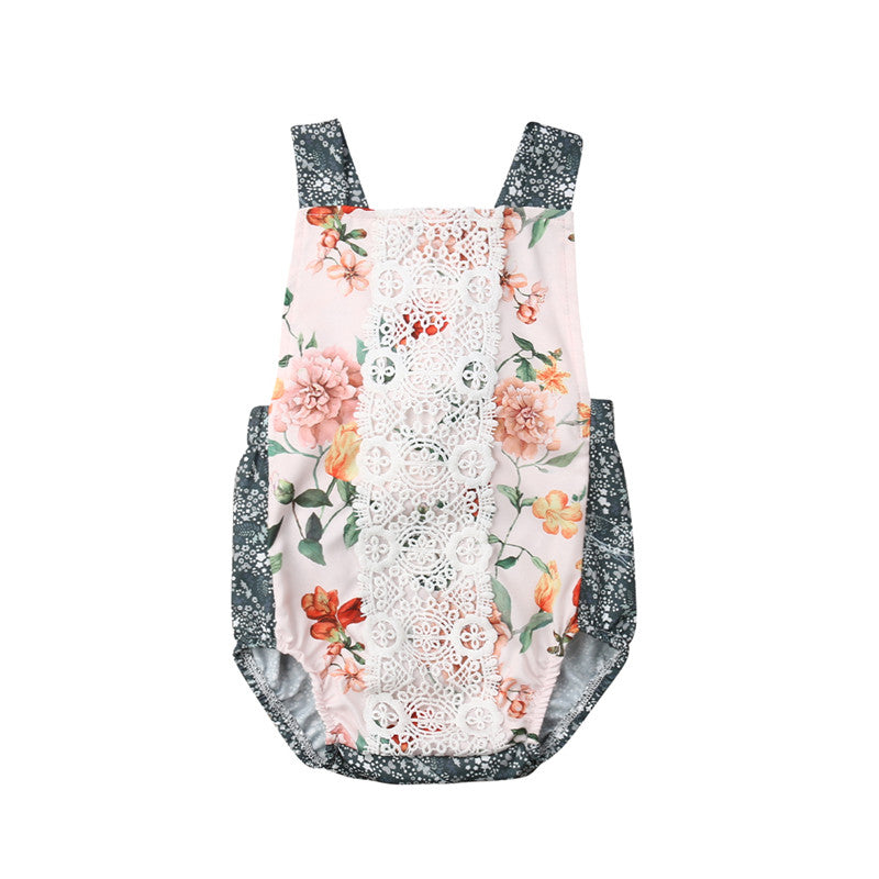0df368ac00069 Infant Kid Baby Girl Lace Flower Sling Romper Jumpsuit Outfit Summer Clothes