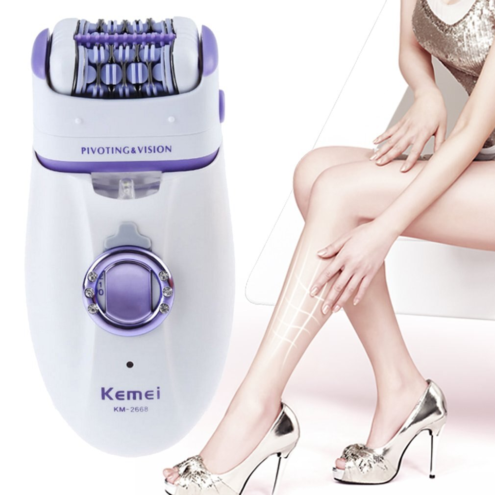 KM-2668 2-in-1 Rechargeable Lady Hair Remover Electric Women Hair Trimmer Depilatory Shaver For Armpit Bikini Leg - ebowsos