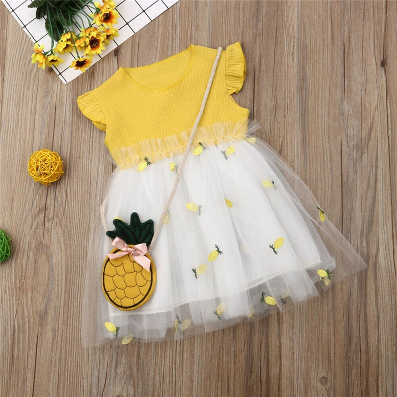 Toddler Kid Girl Summer Clothes Pineapple Ruffle Tutu Dress Princess Party Dress