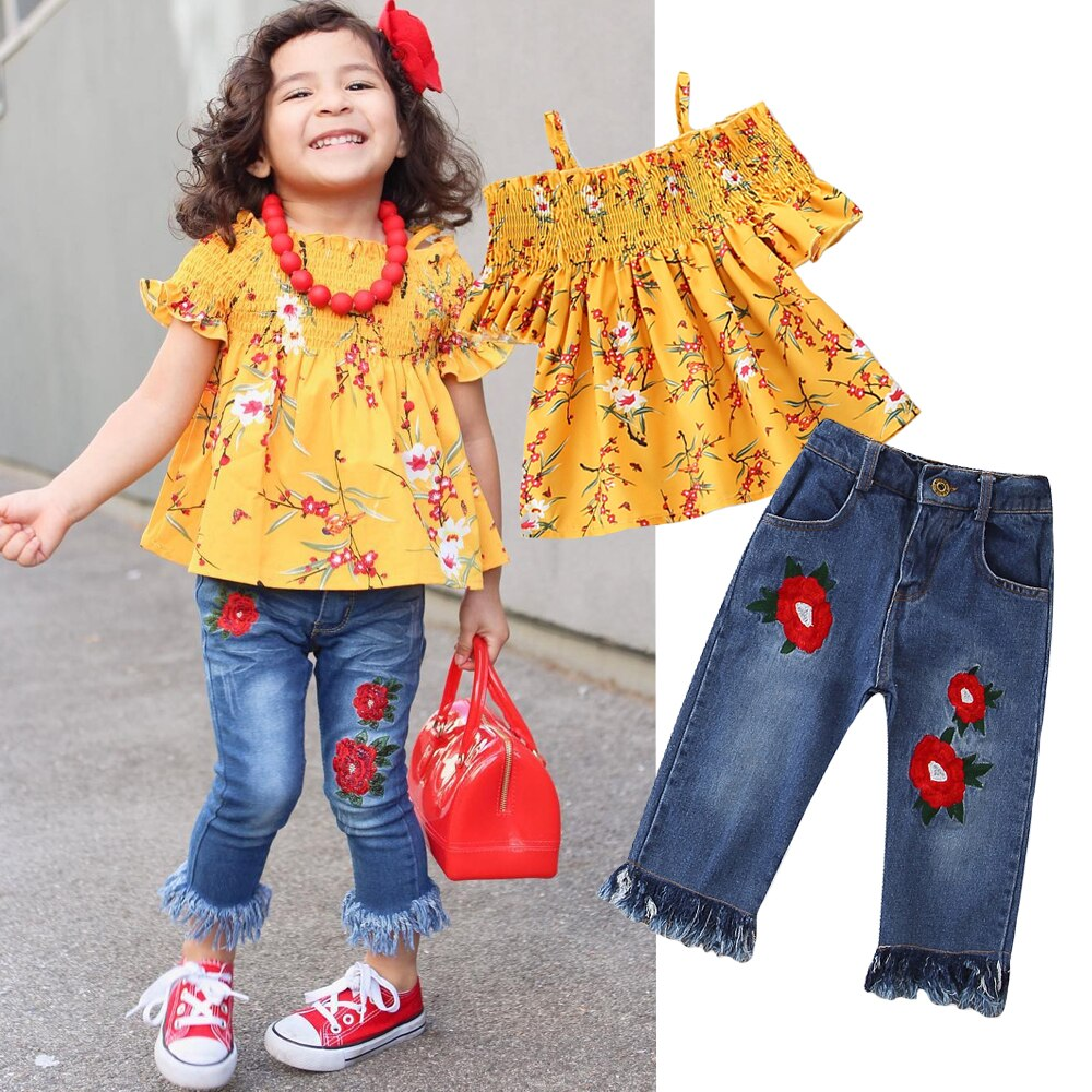 437f645e0a0b1 Kids Baby Girls Clothes Flower Off Shoulder Tops Dress+Denim Jeans Pants  Overall Outfits 2Pcs Set