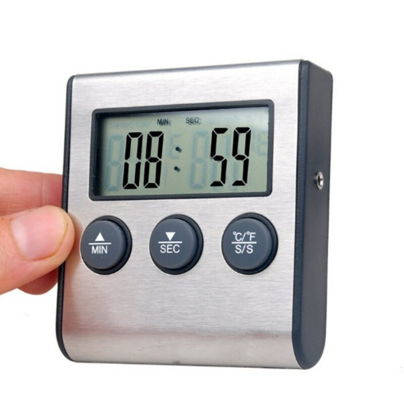 Electric Probe Thermometer Timer Alarm Oven LCD Screen Food Temperature Tester