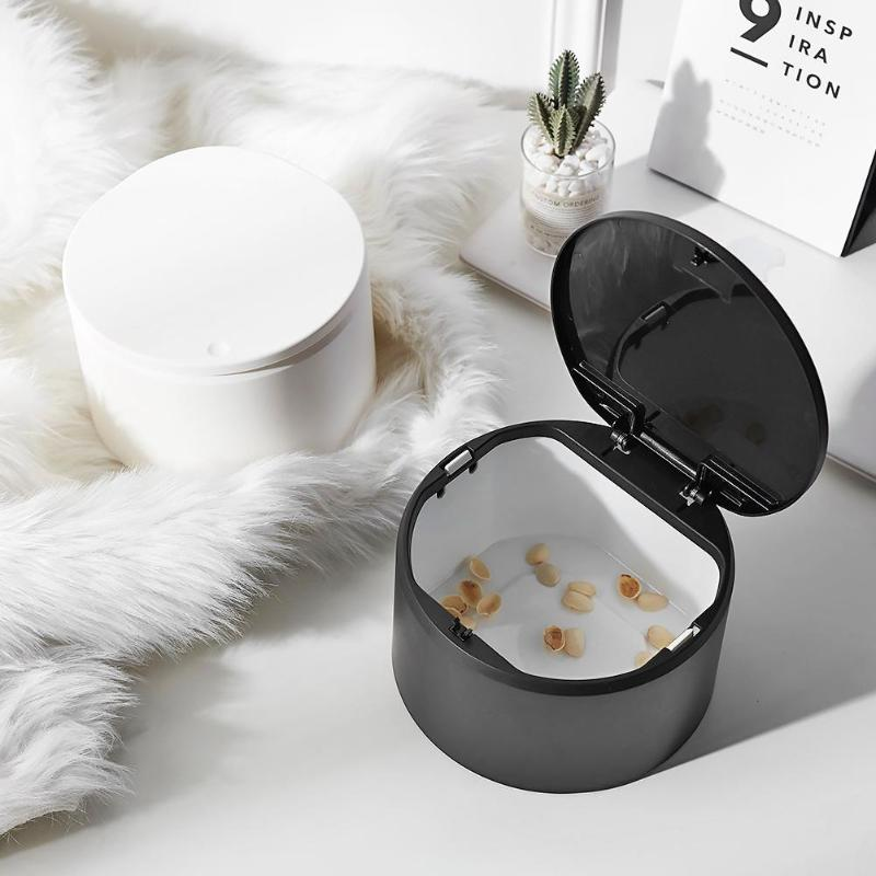 Mini Double-layer Waste Bins Multi-function Desktop Pressure Capped Trash box Can Kitchen Office Garbage Storage Bucket 1piece - ebowsos