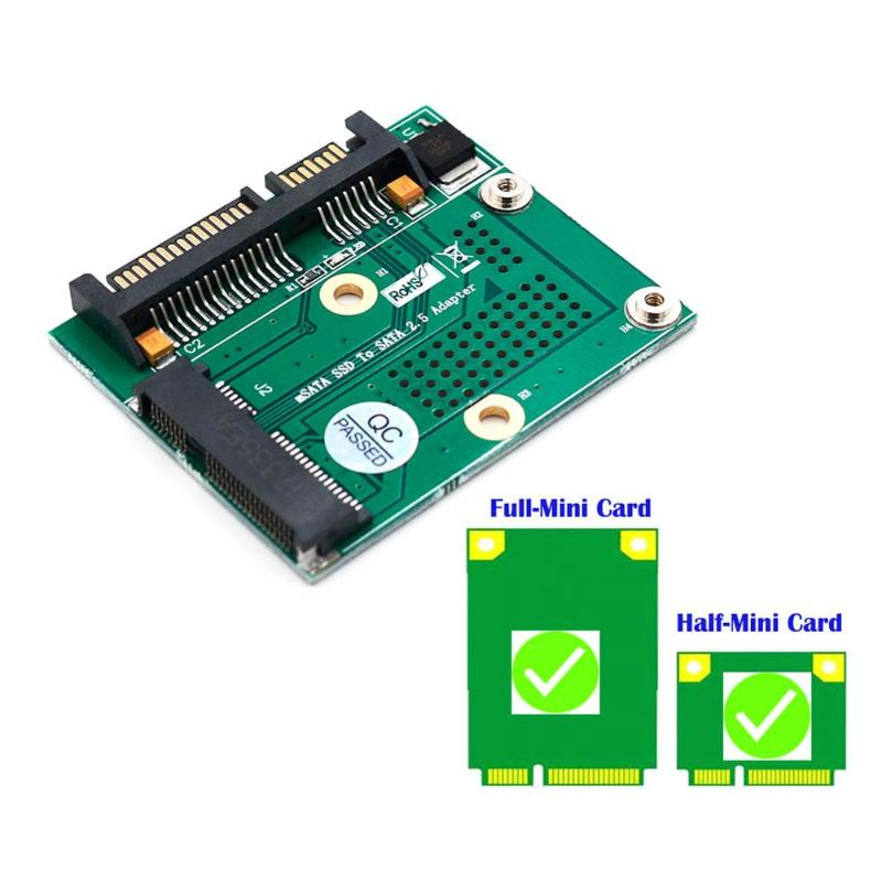 Mini PCI-E Msata SSD to 2.5 Inch SATA Adapter Converter Card Module Board with Metal Extension Bracket PCB Adapter - ebowsos