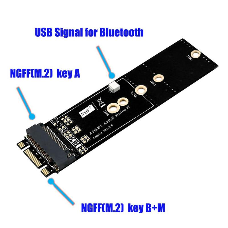 NGFF Key B-M to Key A Adapter Card NGFF M.2 Key B+M to Key A Adapter Board Module High Quality Adapter - ebowsos