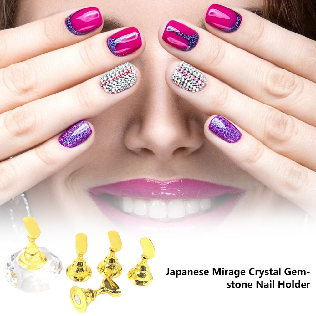 Nail Art Practice Piece Support Japanese Magic Color Crystal Gem Nail Holder High-Grade Lotus Seat Base With Magnetic - ebowsos