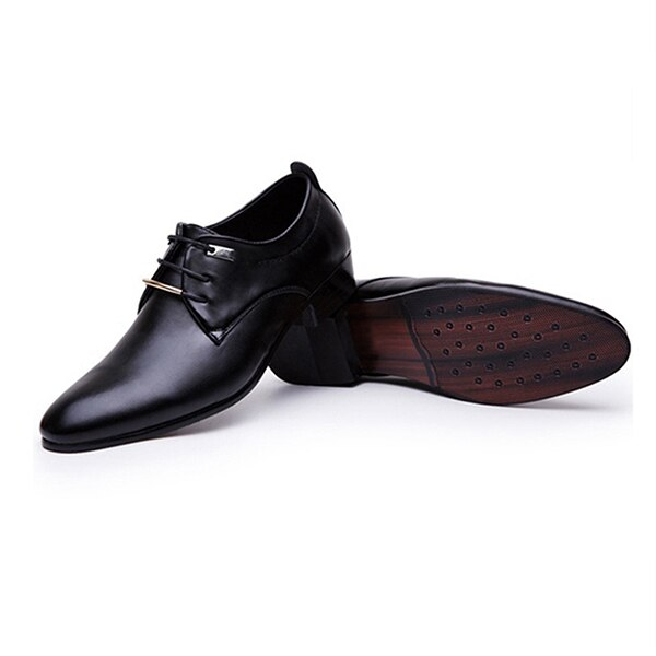 New Men Leather Shoes Male Laceup Pointed Toe WaterProof Fashion Soft Summer Breathable Wedding Business Flats - ebowsos