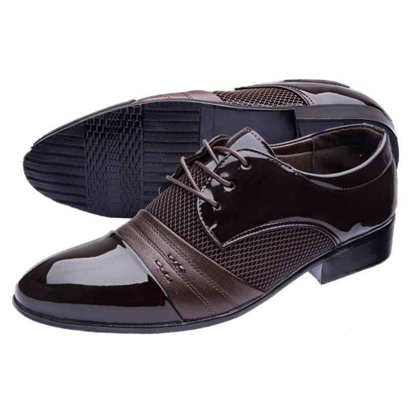 New Mens tip Head bright leather Mesh Business leather shoes - ebowsos