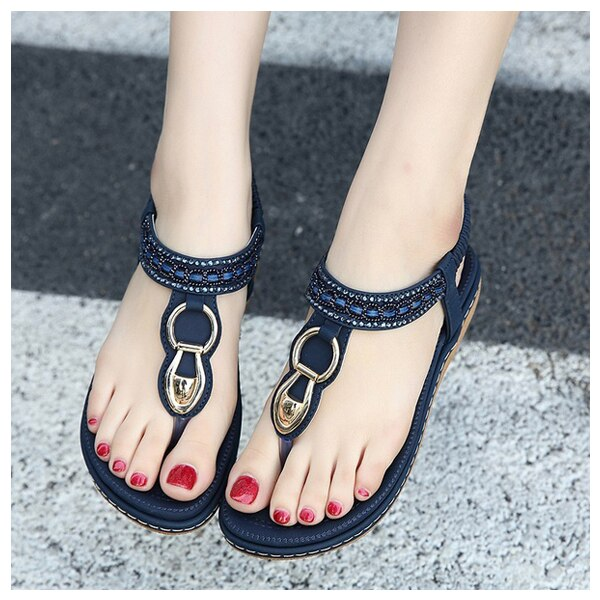 New SIKETU Summer Flat Sandals Ladies Bohemia Beach Flip Flops Shoes Gladiator Women Shoes Sandles platform Clip toe shoes - ebowsos