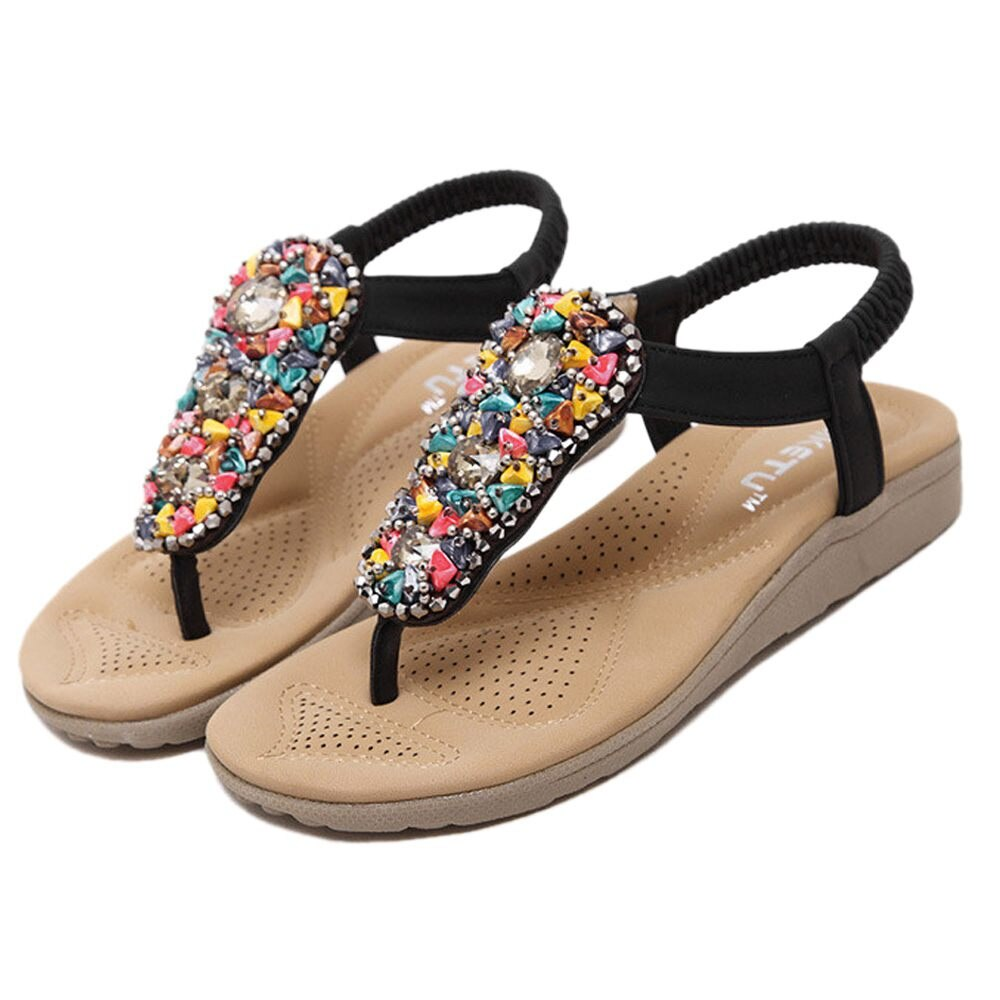 New SIKETU Summer Women Beach Flip Flops Students Bohemia Beaded Flat Sandals Rhinestone Flats - ebowsos