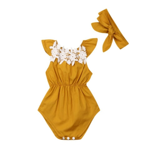 90fc63be5a56 Newborn Baby Girls clothes Sleeveless Romper solid bow Headband 2PCS kids  Toddler cotton lovely Outfits -