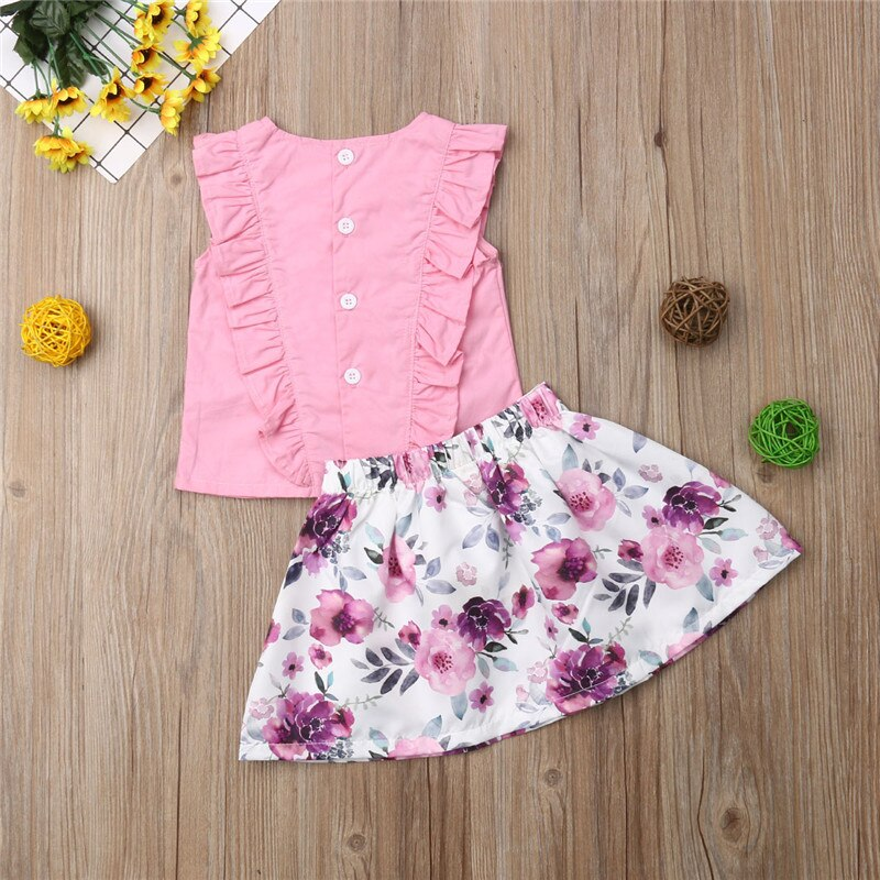 Newborn Infant Baby Girls Summer Short Set Ruffle Lace Shirt Top Floral Pants Set HeadwearOutfits