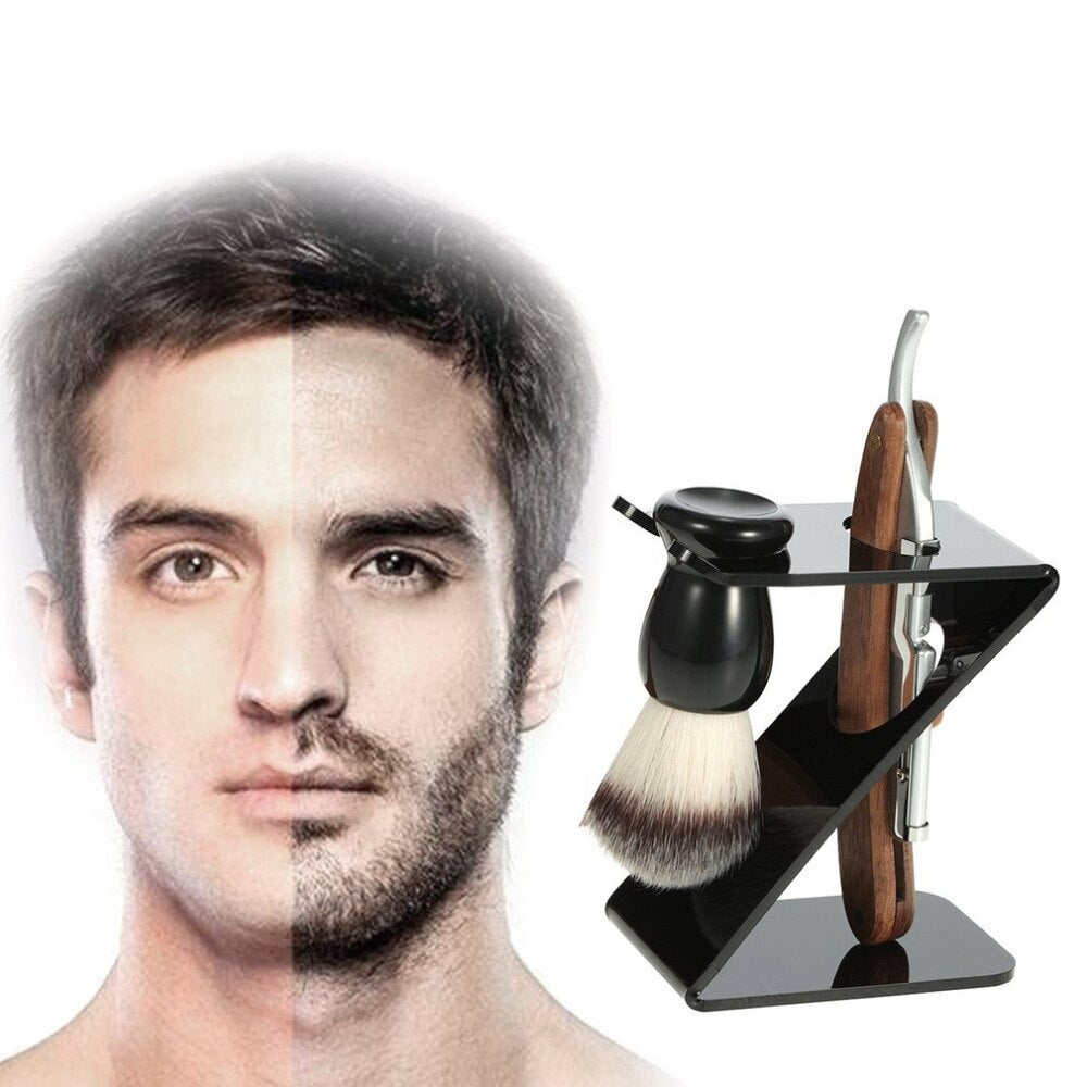 Old-fashioned Manual Shaving Brush Set Man Beard Razor Shavers Shaving Razor Hair Trimmer Washable For Home Salon With Knife new - ebowsos