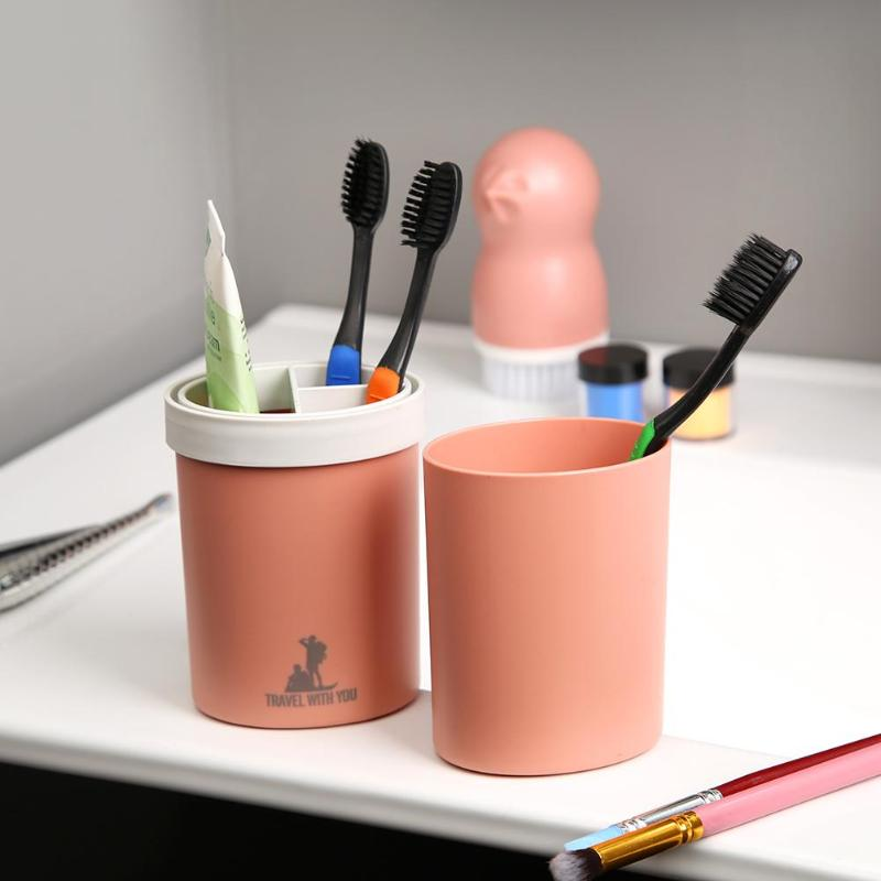 Portable Plastic Toothbrush Holder Travel Bath Toothpaste Storage Water Cup - ebowsos