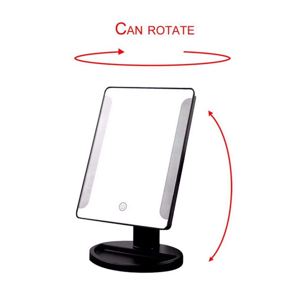 Portable Size LED Desktop Makeup Mirrors Professional Bathroom Bedroom 360 Degree Rotation Countertop Mirrors Make up Tool - ebowsos