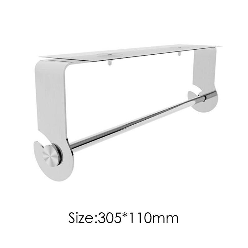 Practical Adhesive Roll Paper Holder Fashion Wall Hanging Creative Stainless Steel Towel Rack Kitchen Bathroom Tools - ebowsos