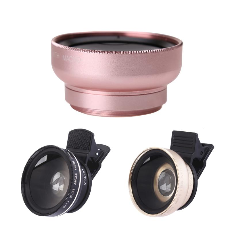 Professional 2 In 1 Phone Lens HD 37mm 0 45X Super Wide Angle + 12 5X Macro  49mm UV Lens +Clip for Mobilephone Travel Shooting