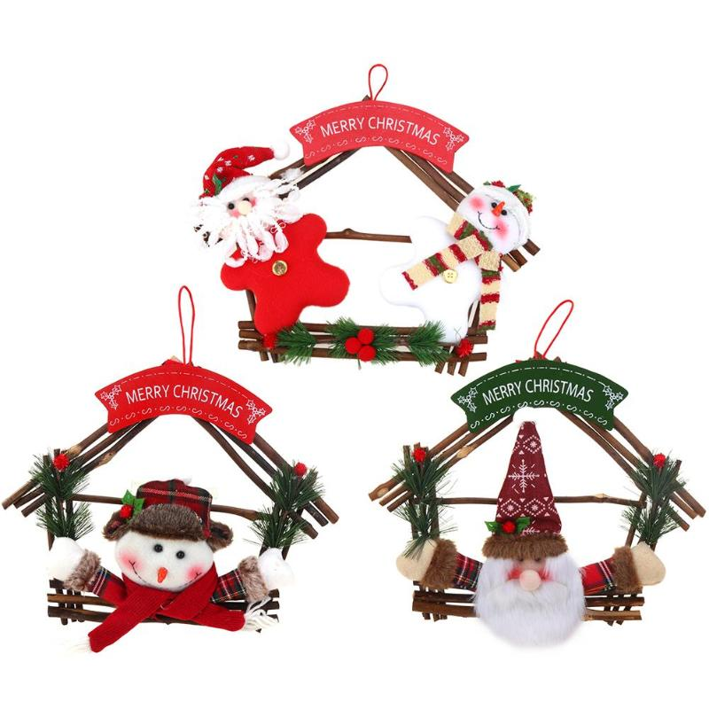 Rattan Ring Wreath Wall Tree Hanging Pendant Ornament Christmas Decoration - ebowsos