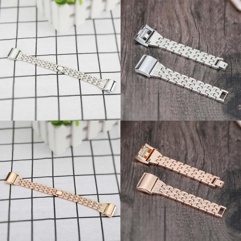 Rhinestone Beading Metal Watchband Replacement Smart Watch Clock Strap Watch Bands for Fitbit Charge 2 - ebowsos