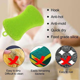 Silicone Brush Dish Washing Brush Bowl Pot Pan Wash Cleaning Brushes Cooking Tool Cleaner Sponges Scouring Kitchen Accessories - ebowsos