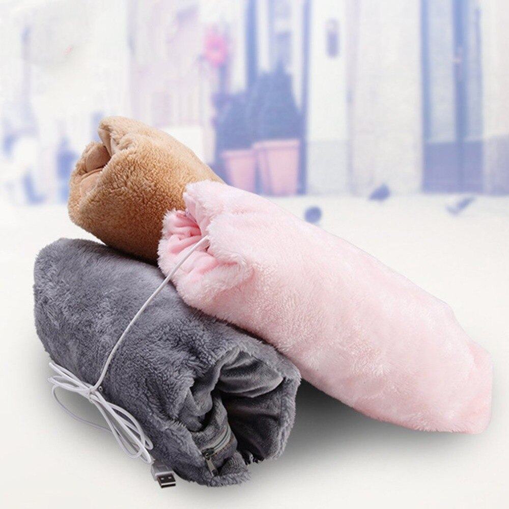 Simple Design USB Charging Winter Hand Warmer Practical Comfortable Soft Electric Heating Warm Pads Cushion Toiletry Kit Pink - ebowsos